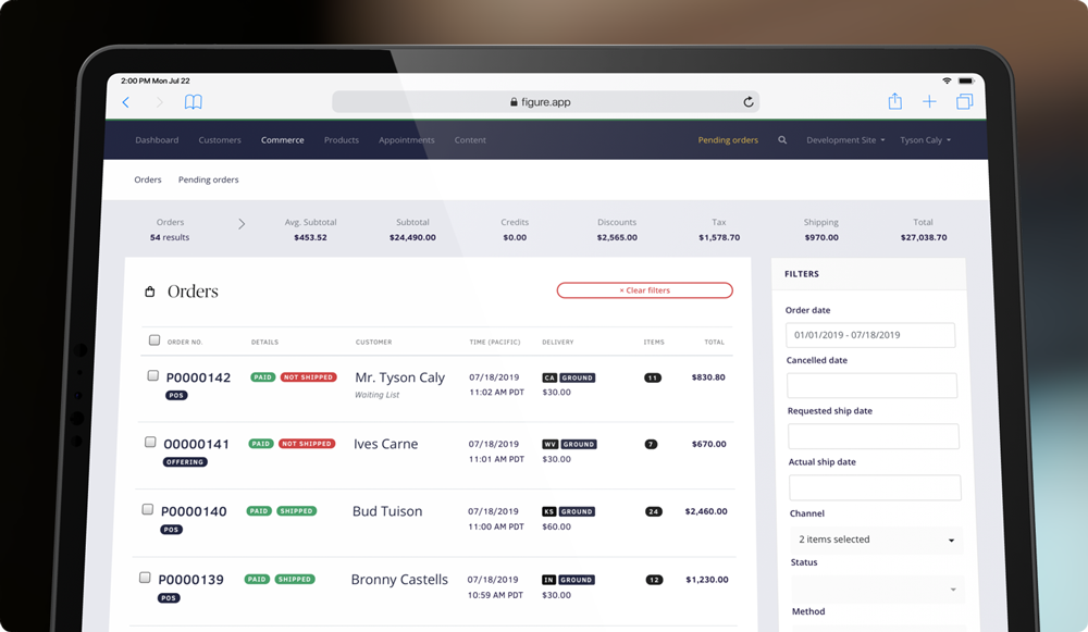 Screenshot of the Figure interface showing recent orders and filters. Winery ecommerce. Allocations, clubs, open cart.